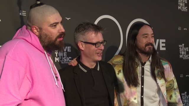 stockvideo's en b-roll-footage met the fat jewish vh1 save the music vice president and executive director henry donahue and dj steve aoki at vh1 save the music 20th anniversary gala... - vh1