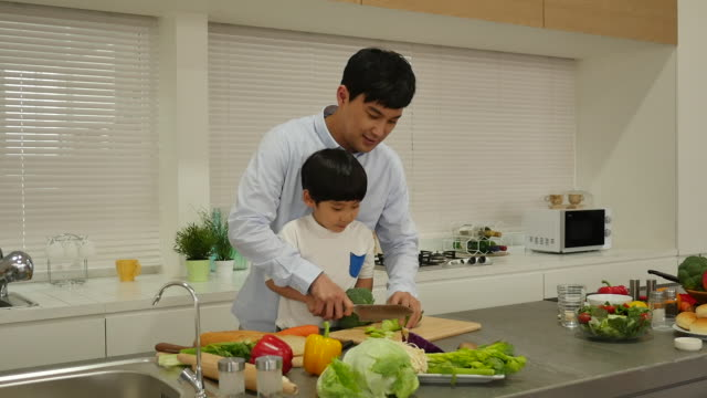 the father and son cook together in the kitchen - 親点の映像素材/bロール