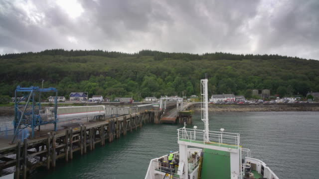 the ferry crossing from oban to the island of mull, - ferry stock videos & royalty-free footage