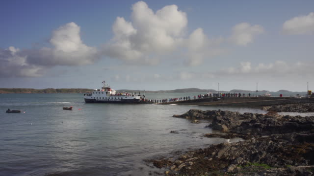 the ferry in the village baile mòr, iona, scotland - ship stock videos & royalty-free footage