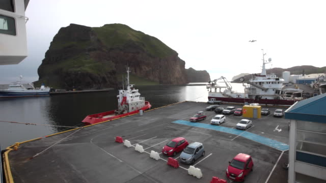 the ferry terminal of vestmannaeyjar on heimaey island, iceland - ferry terminal stock videos & royalty-free footage