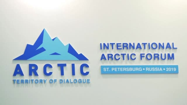 the fifth international arctic forum opens in st. petersburg bringing together 3000 guests including the finnish and icelandic presidents and... - prime minister stock videos & royalty-free footage