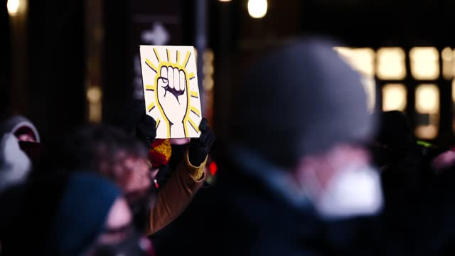 """the fight for black liberation continues"""" march gathers at the barclay's center, brooklyn on january 18 in new york city. organized by breathe,... - recession stock videos & royalty-free footage"""