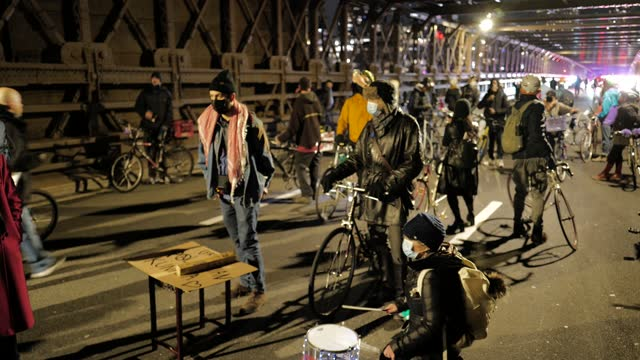 """the fight for black liberation continues"""" marches through the brooklyn bridge on january 18 in new york city. organized by breathe, warriors in the... - recession stock videos & royalty-free footage"""