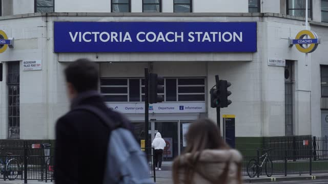 the final passengers enter victoria coach station on january 10, 2021 in london, england. transport company's national express and megabus to... - building entrance stock videos & royalty-free footage