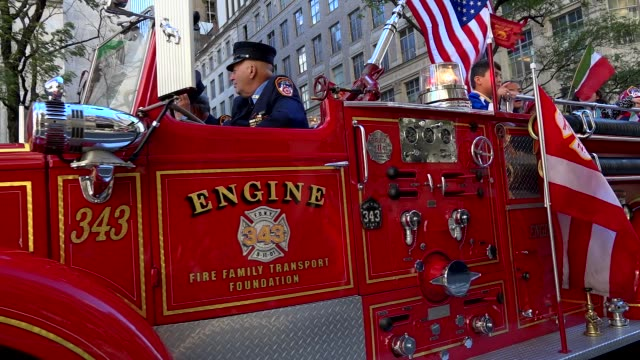 the fire department of the city of new york march during the columbus day parade on 5th avenue midtown manhattan new york city usa - fire department of the city of new york stock videos and b-roll footage
