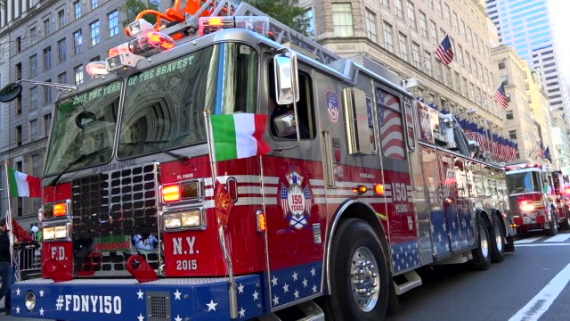 the fire department of the city of new york march during the columbus day parade on 5th avenue midtown manhattan new york city usa - fire department of the city of new york stock-videos und b-roll-filmmaterial