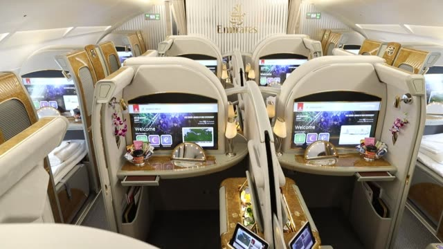 the first class cabin of an airbus se a380 aircraft as emirates take delivery of their 100th a380 passenger jet in hamburg germany on friday nov 3 an... - airbus stock-videos und b-roll-filmmaterial