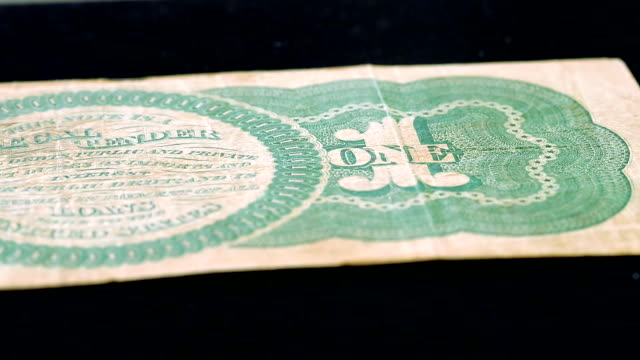 The first greenback of a dollar bill made in 1860, USA