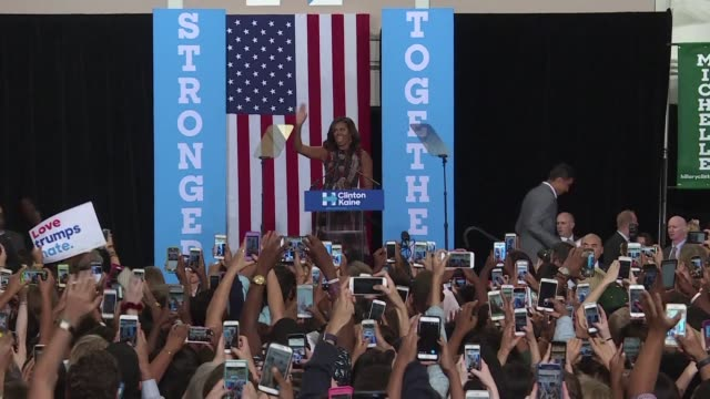 the first lady of the united states michelle obama calls on voters to mobilize in favor of hillary clinton - democracy stock videos & royalty-free footage