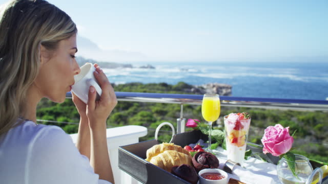 the first meal of the day with a difference - luxury stock videos & royalty-free footage