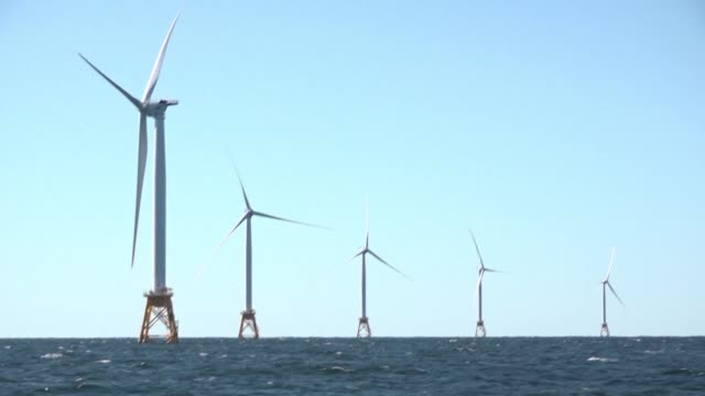 vídeos de stock, filmes e b-roll de the first off shore wind farm in the us is set to start generating power in november exactly eight years after barack obama was elected pledging to... - a. gore