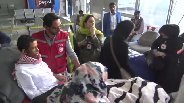 the first prisoner released by the yemeni huthi rebels under an agreement with the government brokered last month boards an icrc flight at sanaa... - prisoner released stock videos & royalty-free footage
