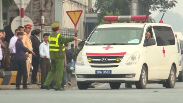 the first remains of 39 people found dead in a truck in britain last month arrived in hanoi from london on a vietnam airlines flight early wednesday - north vietnam stock videos & royalty-free footage
