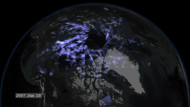 The First Season of Noctilucent Clouds from AIM - This movie presents a daily accumulation of data from the AIM spacecraft for the northern hemisphere. The circular gap over the Earths geographic pole is due to a gap in the satellite coverage