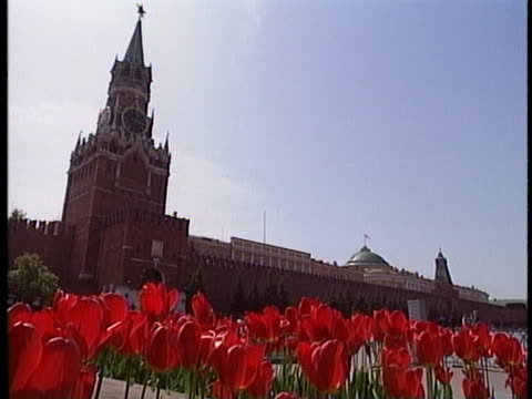 the first shot is a low angle long shot with red tulips in the foreground and the kremlin in moscow russia in the background. the second shot is a... - simply red点の映像素材/bロール