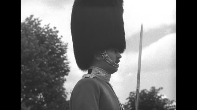 the first trooping the colour ceremony for queen elizabeth ii at horse guards parade / the queen riding sidesaddle reviews the troops / large crowd... - horse guards parade stock videos and b-roll footage