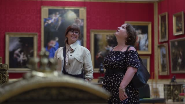 the first visitors through the door explore the galleries of the wallace art collection on july 15, 2020 in london, england. as the country further... - explorer stock videos & royalty-free footage