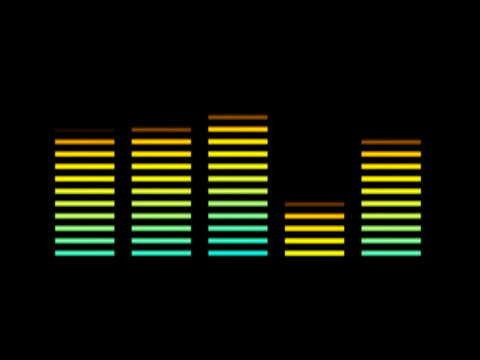 the five bars of a graphic equaliser, pulsing in reaction to some silent beat. the bars are shaded, from green at the base to yellow at the top. - moving down stock videos and b-roll footage