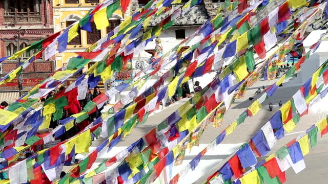 the flag in boudhanath stupa,kathmandu,nepal. - stupa stock videos & royalty-free footage
