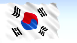 The flag of South Korea waving in the wind
