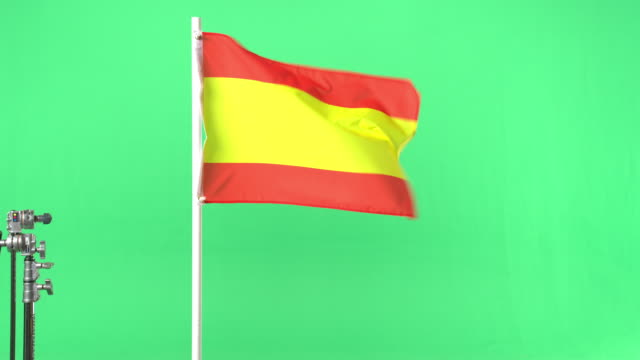 the flag of spain on green screen - spanish flag stock videos and b-roll footage