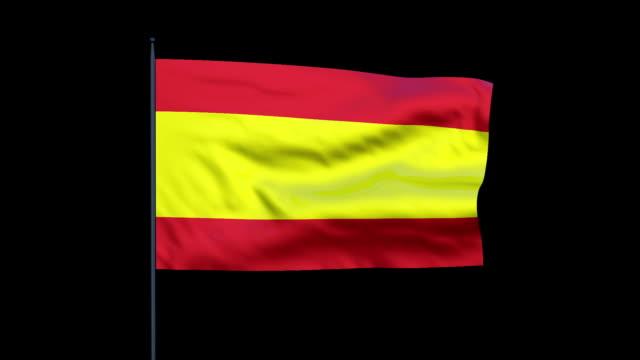 the flag of spain ripples in a breeze. - スペイン国旗点の映像素材/bロール