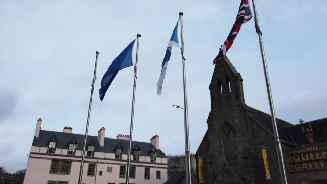 the flag of the european union flies outside the scottish parliament as msps debate whether it should still be flown after the uk's exit from the eu,... - member of the scottish parliament stock videos & royalty-free footage