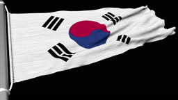 The flag of the Republic of Korea flies in the blast of the wind.