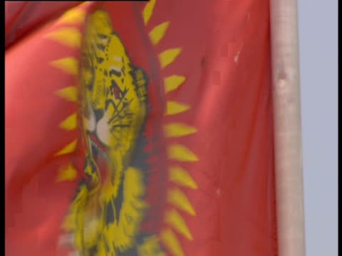 the flag of the tamil tigers flaps in the wind. - civil war stock videos & royalty-free footage
