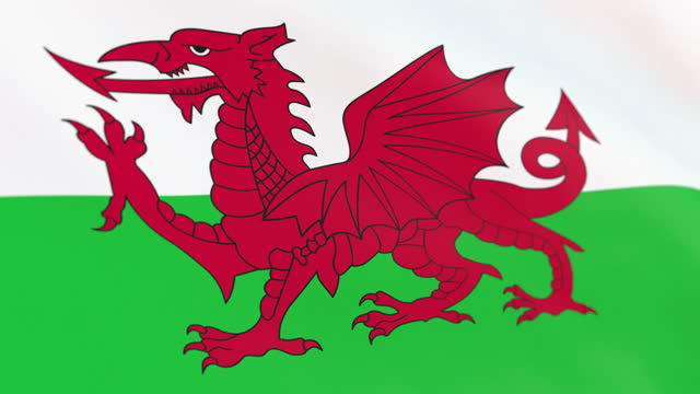 the flag of wales loop - identity politics stock videos & royalty-free footage