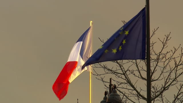 The flags of France and the European Union outside the Elysee Palace