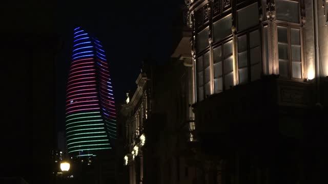 the flame towers at night, baku - eddie large stock videos & royalty-free footage