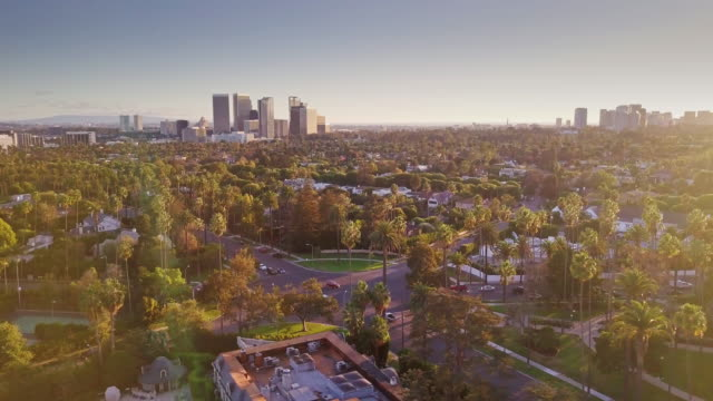 the flats, beverly hills - aerial view - century city stock videos & royalty-free footage