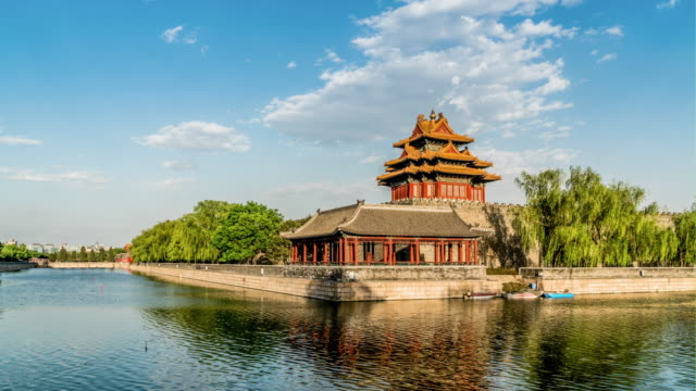the floating cloud above the gate tower of the forbidden city, beijing, china - moat stock videos and b-roll footage