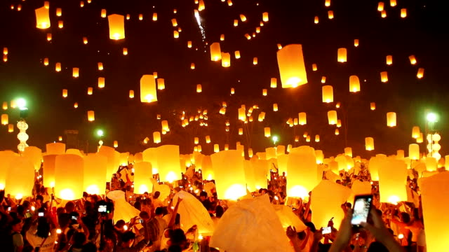 the floating lanterns - travel stock videos & royalty-free footage