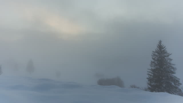 vídeos de stock, filmes e b-roll de t/l of the fog rolling in on a snowy hill in kruen - garmisch partenkirchen
