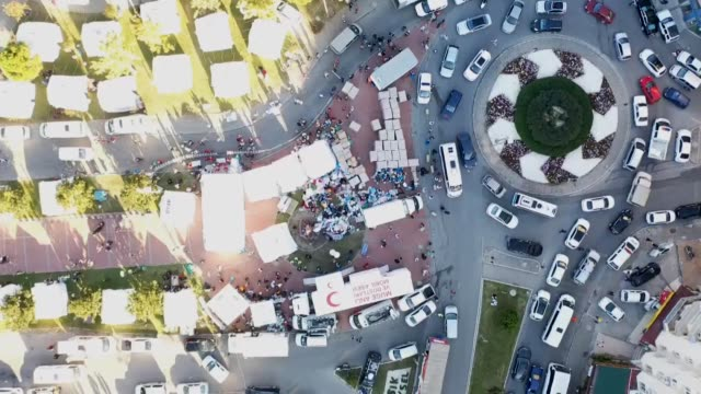 the footage shows an aerial view of a tent city set up by turkey's disaster and emergency management authority officials, in turkey's western izmir... - responsibility stock videos & royalty-free footage