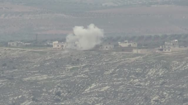 The footage taken from Turkey's southeastern Kilis province on the Syrian border shows Turkish Army shelling on PYD/PKK targets at Sheltah Mountain...