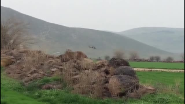 the footage taken from turkey's southern hatay province on the syrian border shows turkish army shelling on pyd/pkk targets in syria's afrin within... - hatay stock videos & royalty-free footage