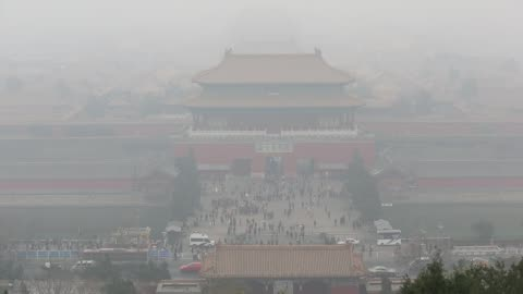 the forbidden city is covered by heavy smog on nov 29, 2014. - beijing stock videos & royalty-free footage
