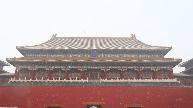 the forbidden city is seen as the first snow of the season descends upon the city on november 21 in beijing, china. - forbidden city stock videos & royalty-free footage