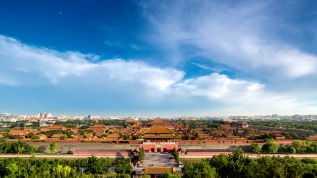 t/l ws ha the forbidden city under rolled clouds / beijing, china - forbidden city stock videos & royalty-free footage
