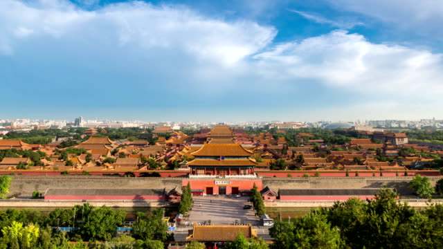 T/L WS HA ZO The Forbidden City under rolled clouds / Beijing, China