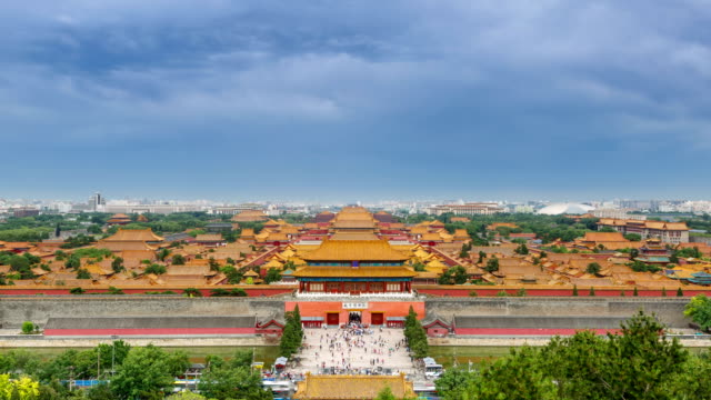 t/l ws ha zi the forbidden city under rolled clouds / beijing, china - forbidden city stock videos & royalty-free footage