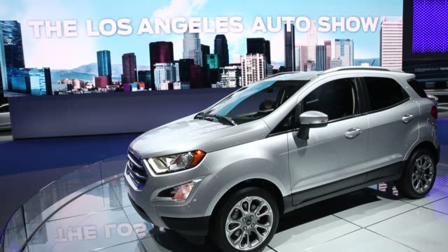 the ford motor co ecosport crossover sport utility vehicle is displayed ahead of the los angeles auto show in los angeles california us on monday nov... - ford stock-videos und b-roll-filmmaterial