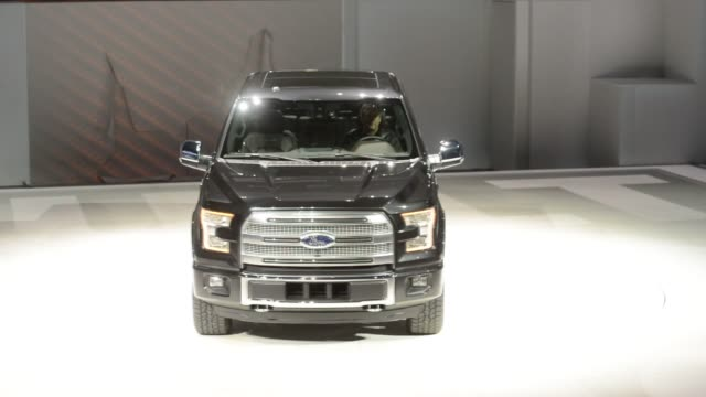 the ford motor co f150 pickup truck is displayed after being unveiled during the the 2014 north american international auto show in detroit michigan... - ford truck stock videos and b-roll footage