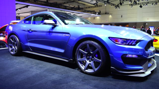 The Ford Mustang Shelby on display at the Ford Motor Company section on the floor of the Toronto Metro Convention Centre The blue concept car slowly...