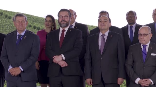 the foreign ministers of mercosur member countries pose for a family picture during a two-day summit in brazil as they reel from us steel and... - mercosur stock videos & royalty-free footage