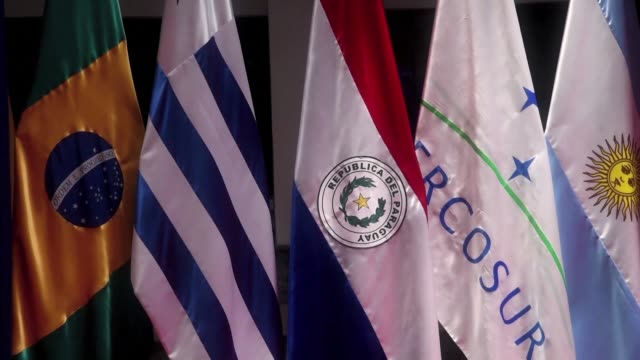 the foreign ministers of south american trade bloc mercosur made up of argentina brazil paraguay and uruguay met in paraguay's capital on friday to... - mercosur stock videos & royalty-free footage